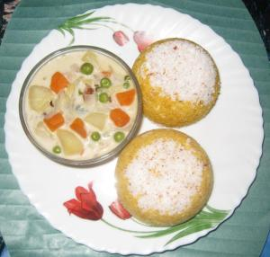Corn meal puttu or corn meal steam cake